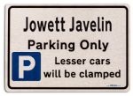 Jowett Javelin Car Owners Gift| New Parking only Sign | Metal face Brushed Aluminium Jowett Javelin Model